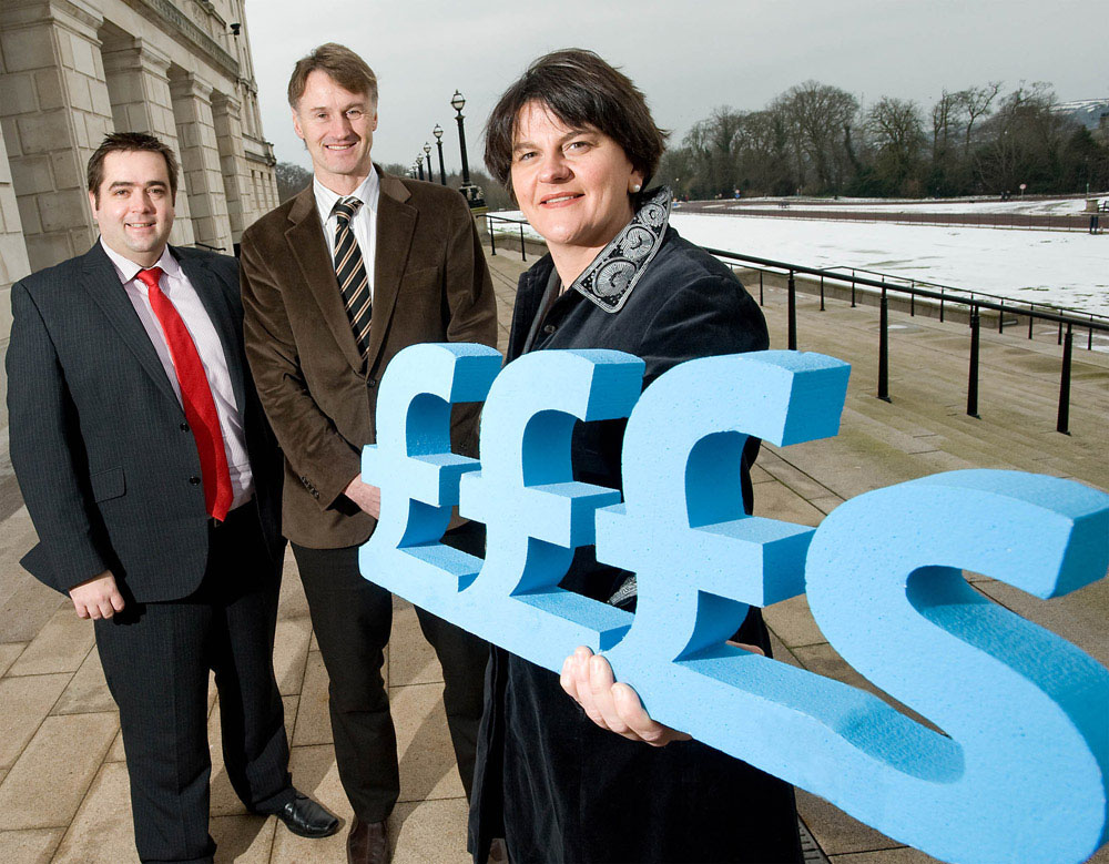Enterprise Minister Arlene Foster is pictured with, left, Seamus O'Prey, UCIT and William McCulla, Invest NI